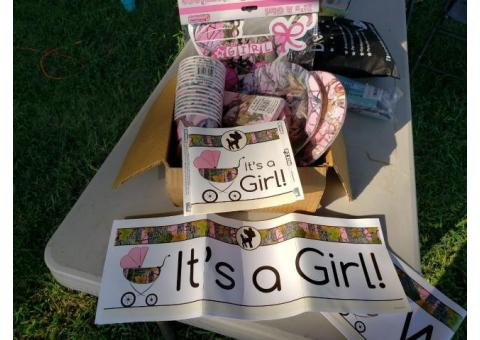 It's a girl pink camo baby shower set
