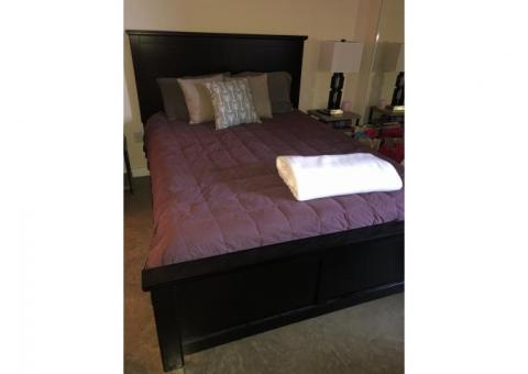 Ashley furniture Queen bed frame, footboard and mattress